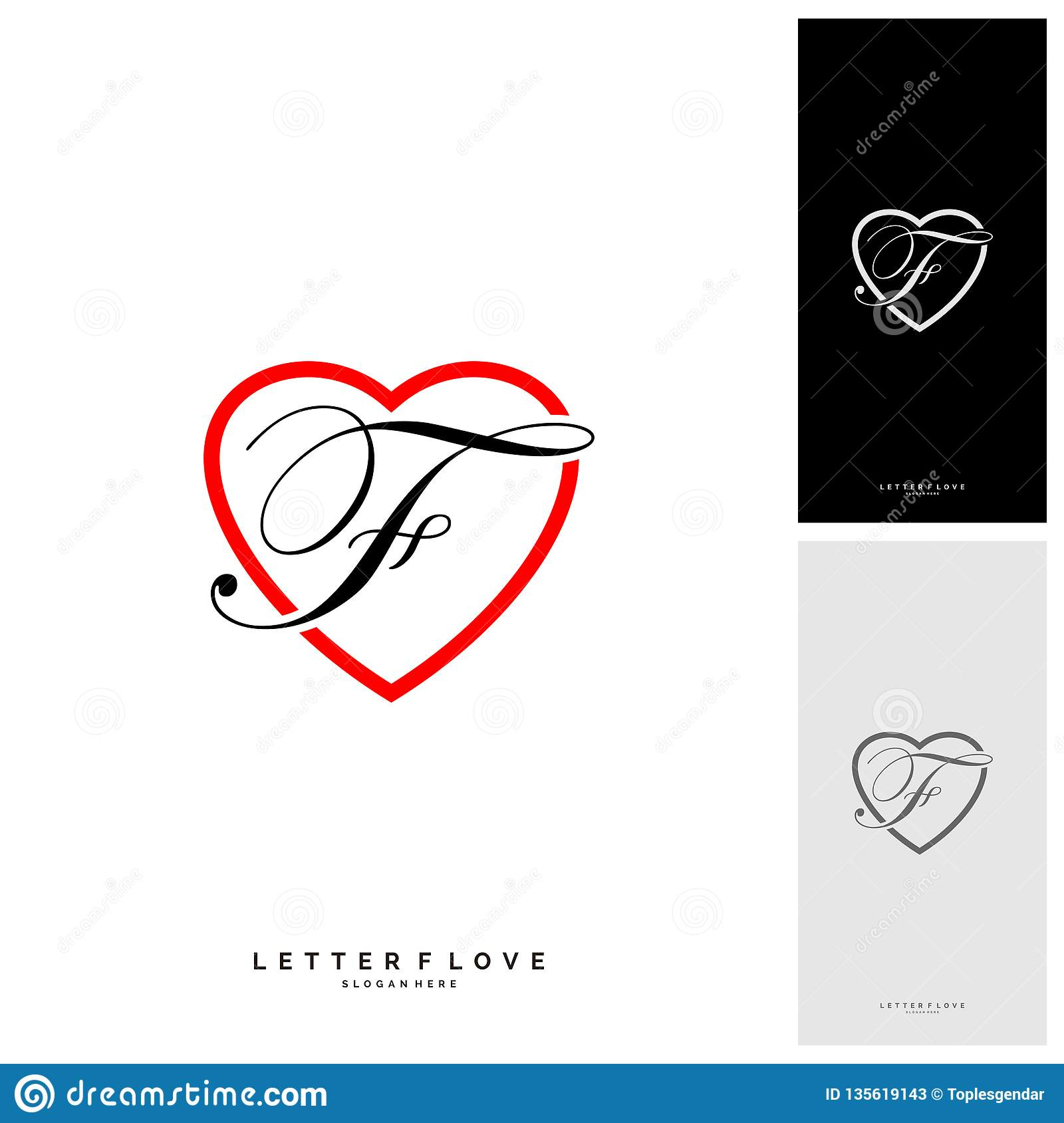 Letter F Heart Logo Icon Design Template Elements Initial F With