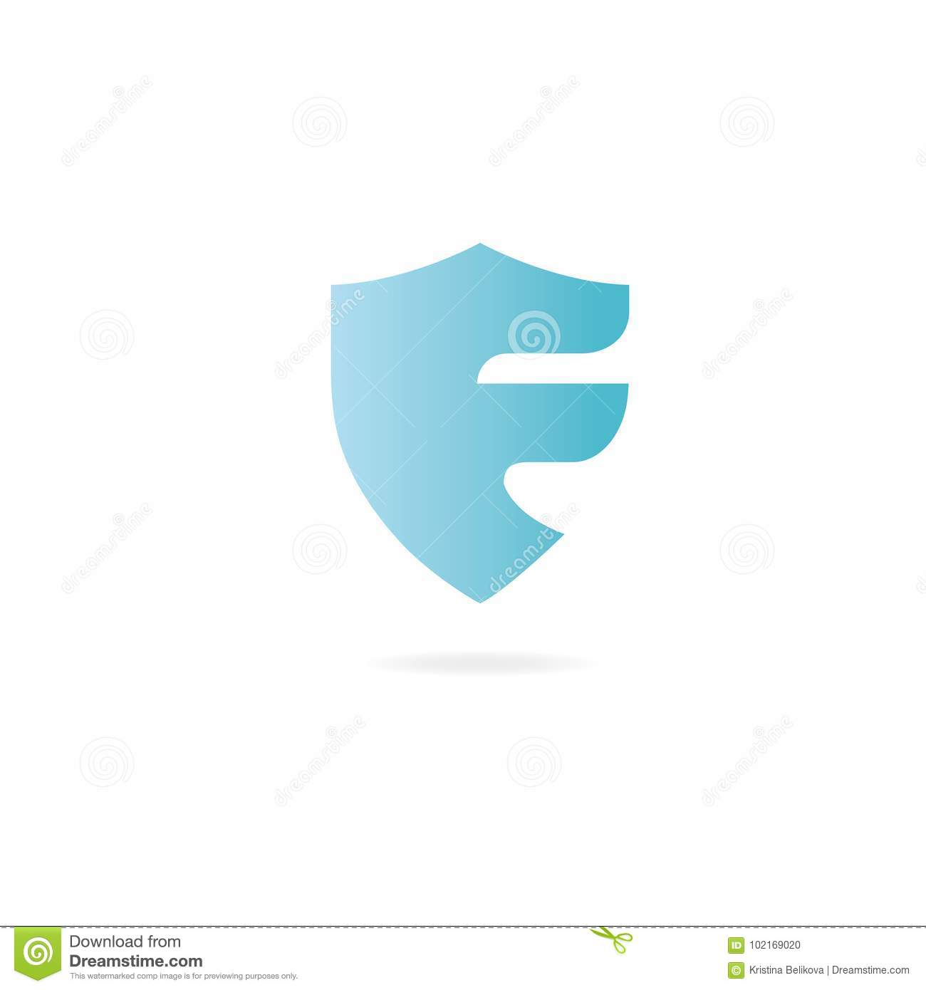 letter f logo design template elements protection shield