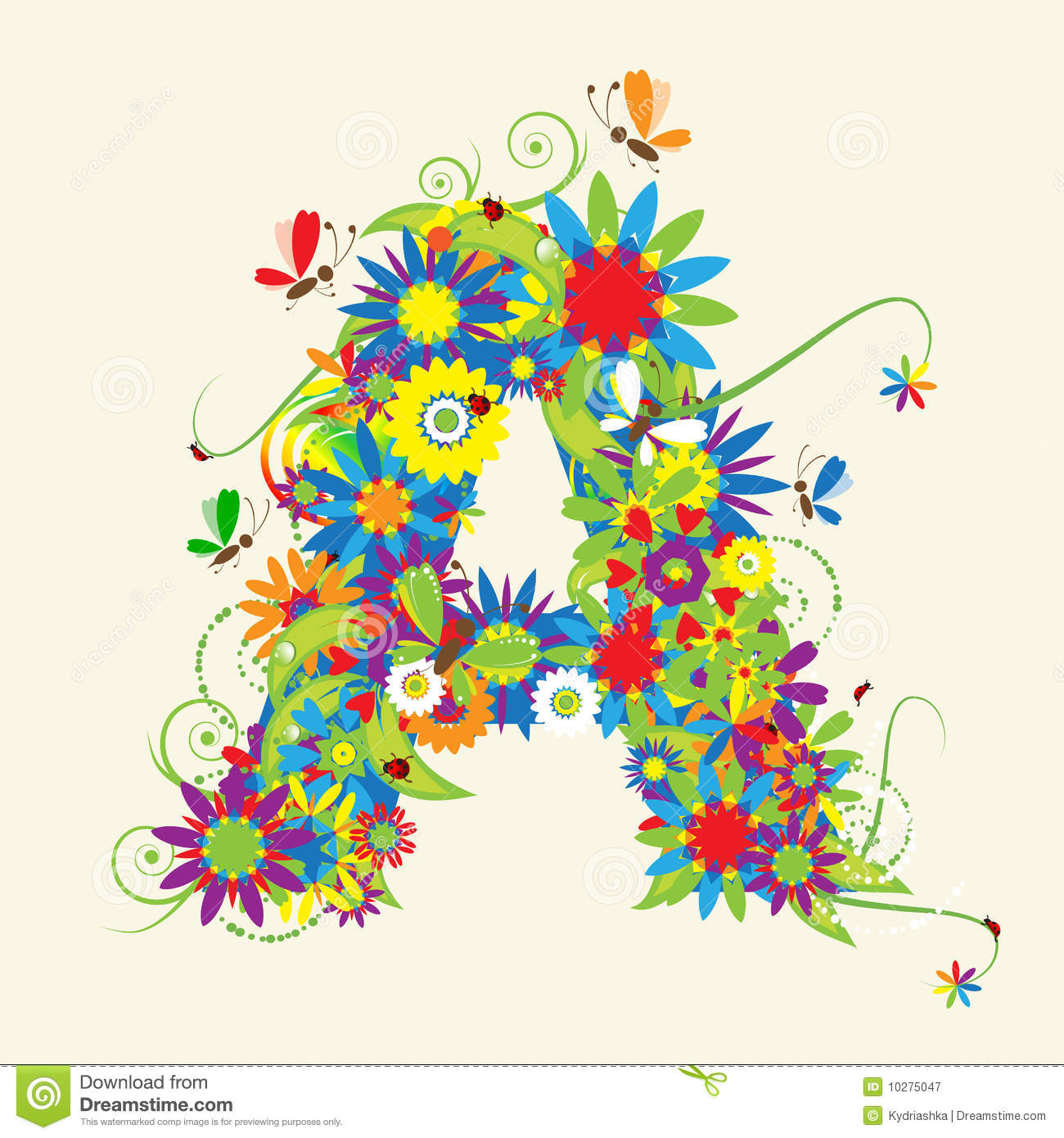 Letter A, floral design. See also letters in my gallery.