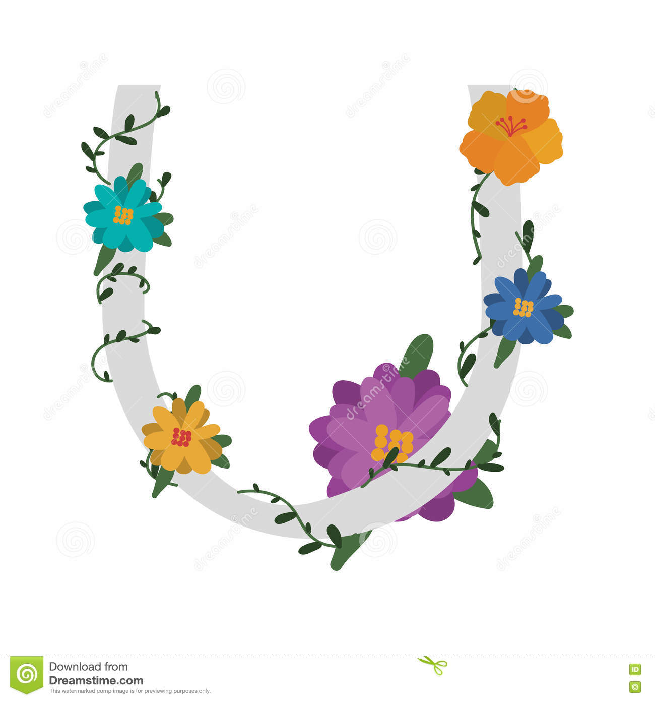 Letter With Flowers Decoration Stock Vector Illustration Of Line