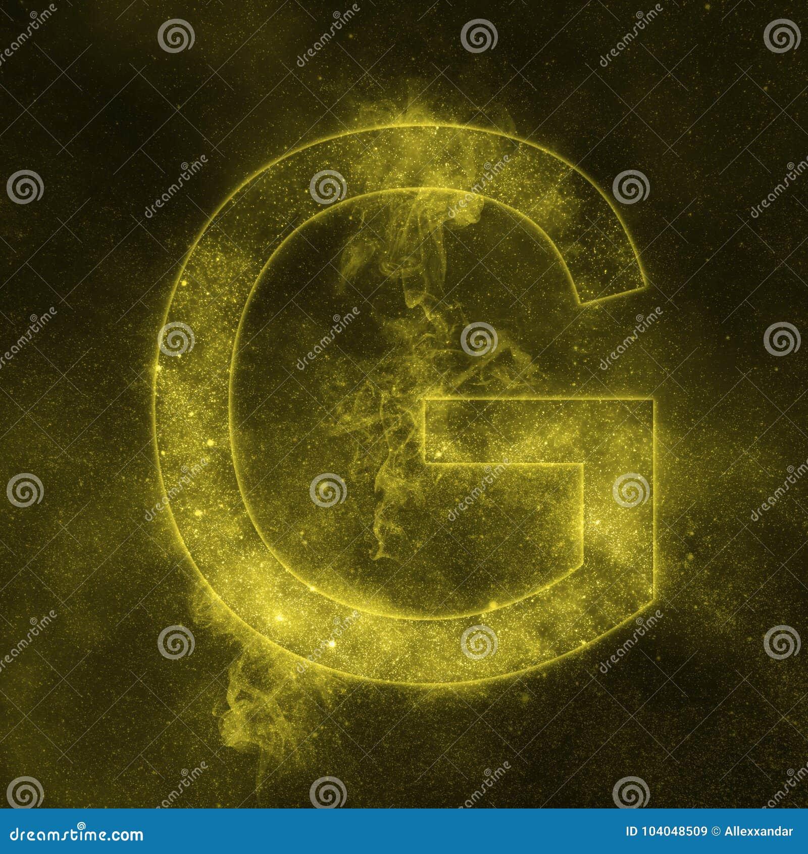 Letter G alphabet symbol. Space Letter, Night Sky Letter.