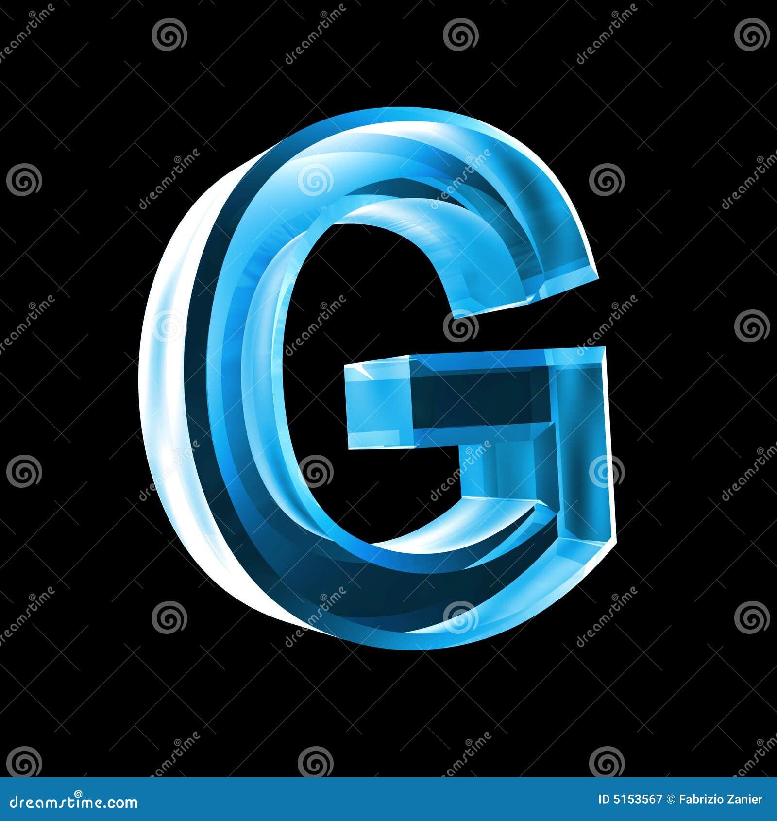 Letter G in blue glass 3D stock illustration. Illustration ...