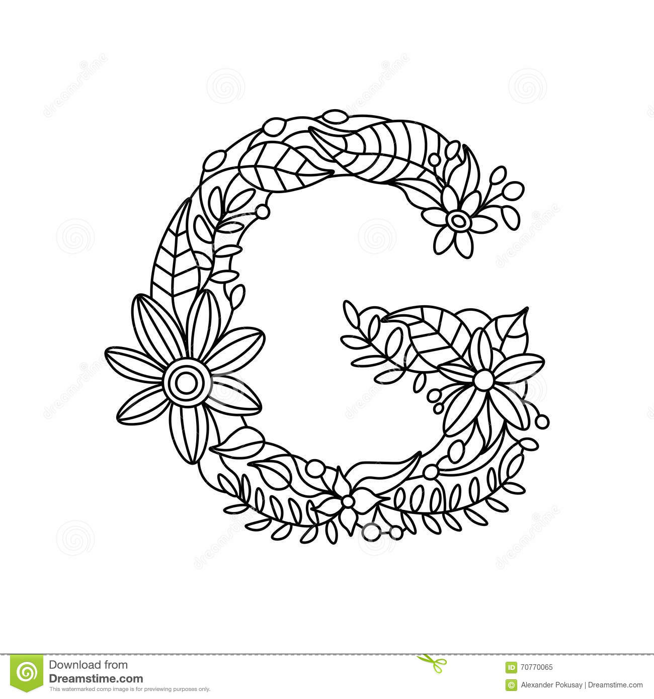 letter a coloring book for adults vector stock vector image