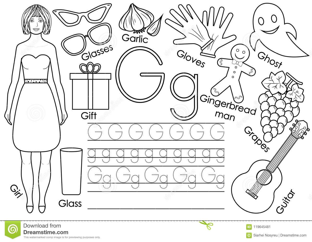 Download Letter G English Alphabet Writing Practice Stock Vector