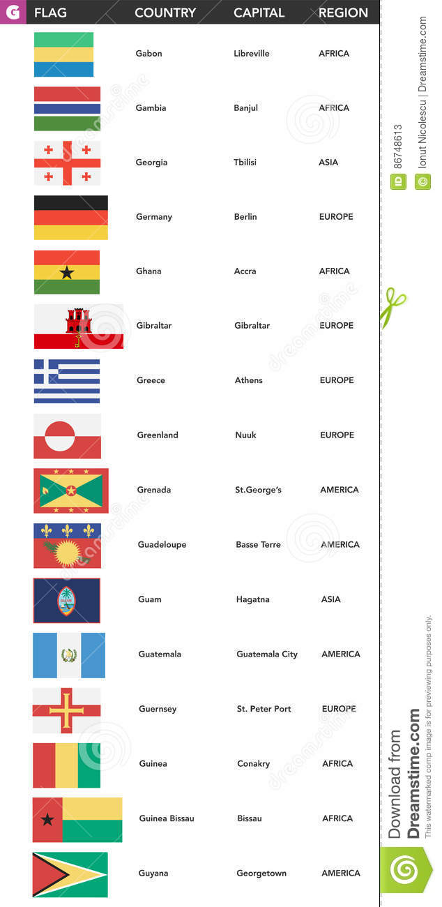 Letter G Flags Of The World With Name Capital And Region Stock - States of usa in alphabetical order with capitals