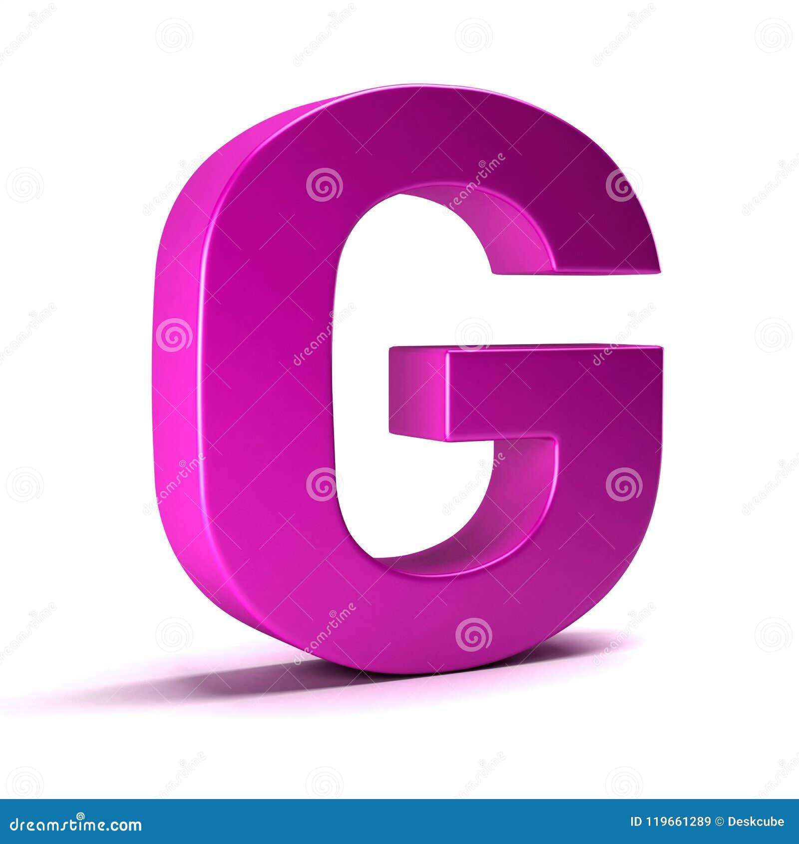 Letter G Initial Girl Pink Color. 3D Render Illustration Stock ...
