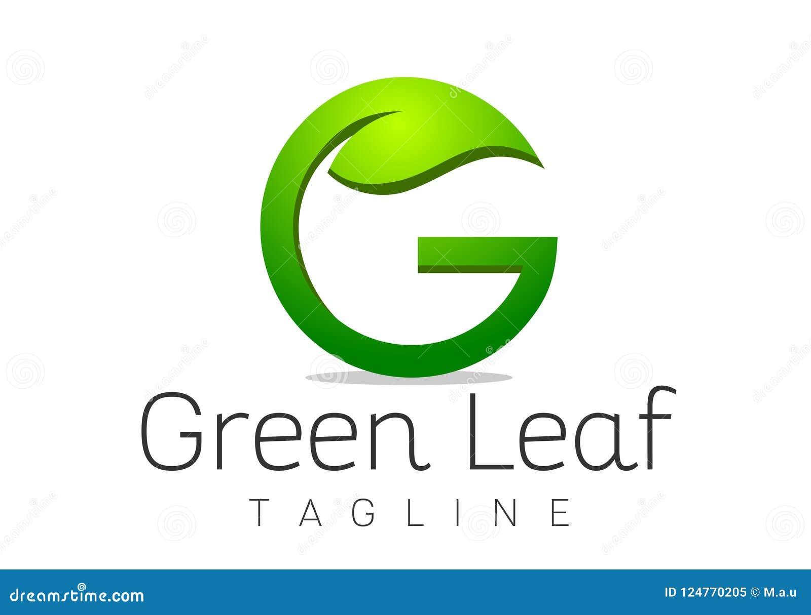 letter g leaf logo design template vector
