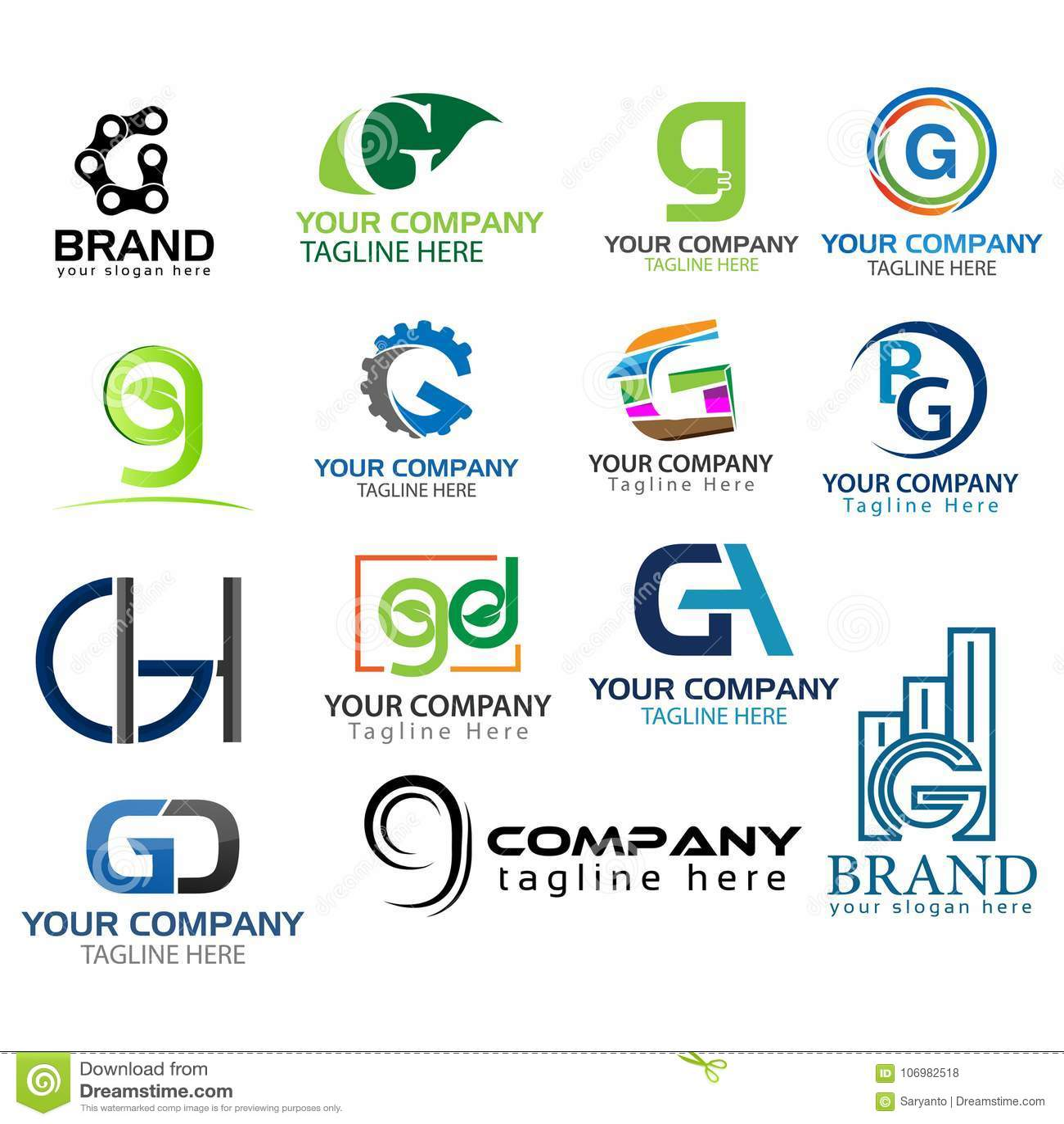 Letter G Logo Set Set Of Colorful G Letter Symbols Stock Vector