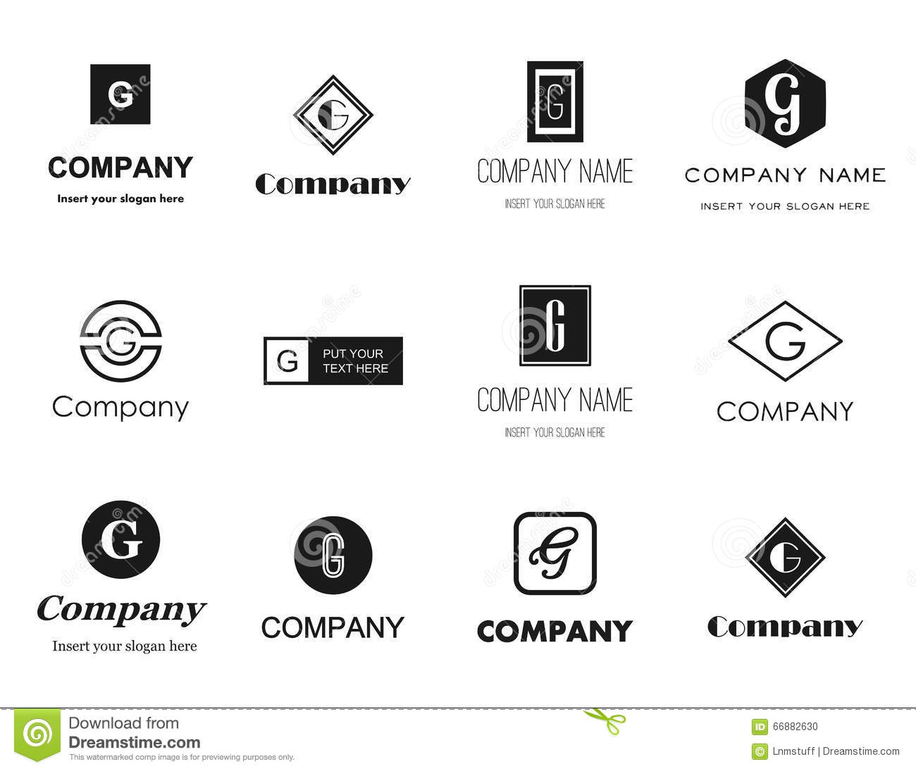 6d4329792d7b Vector set of flat style monochromatic letter G (gee) logos - elegant,  modern and simple logo collection. Editable eps file available.