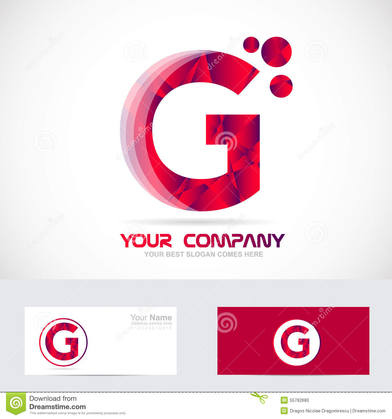 D Letter G Template on cut out, printable box,