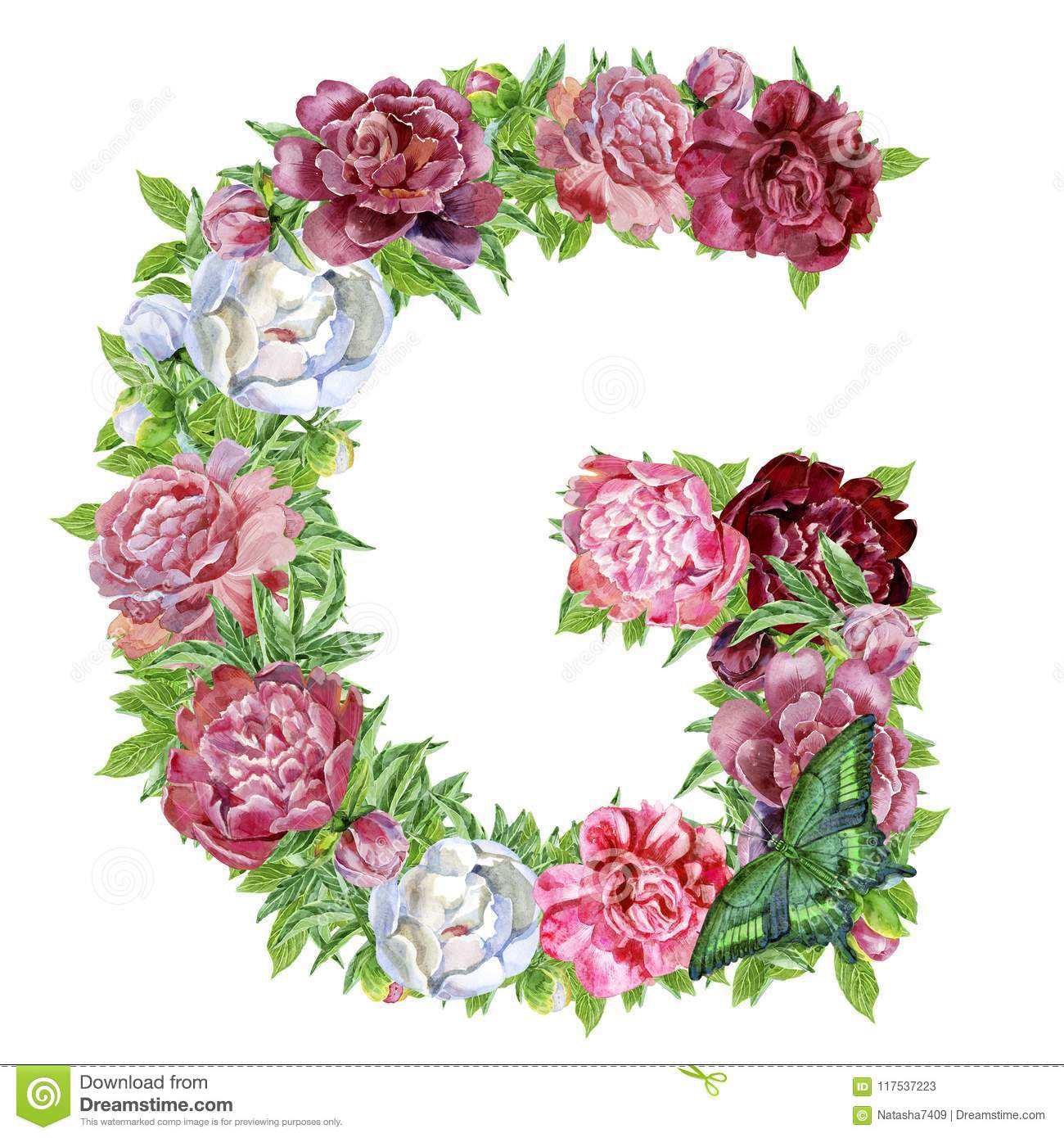 Letter G of watercolor flowers