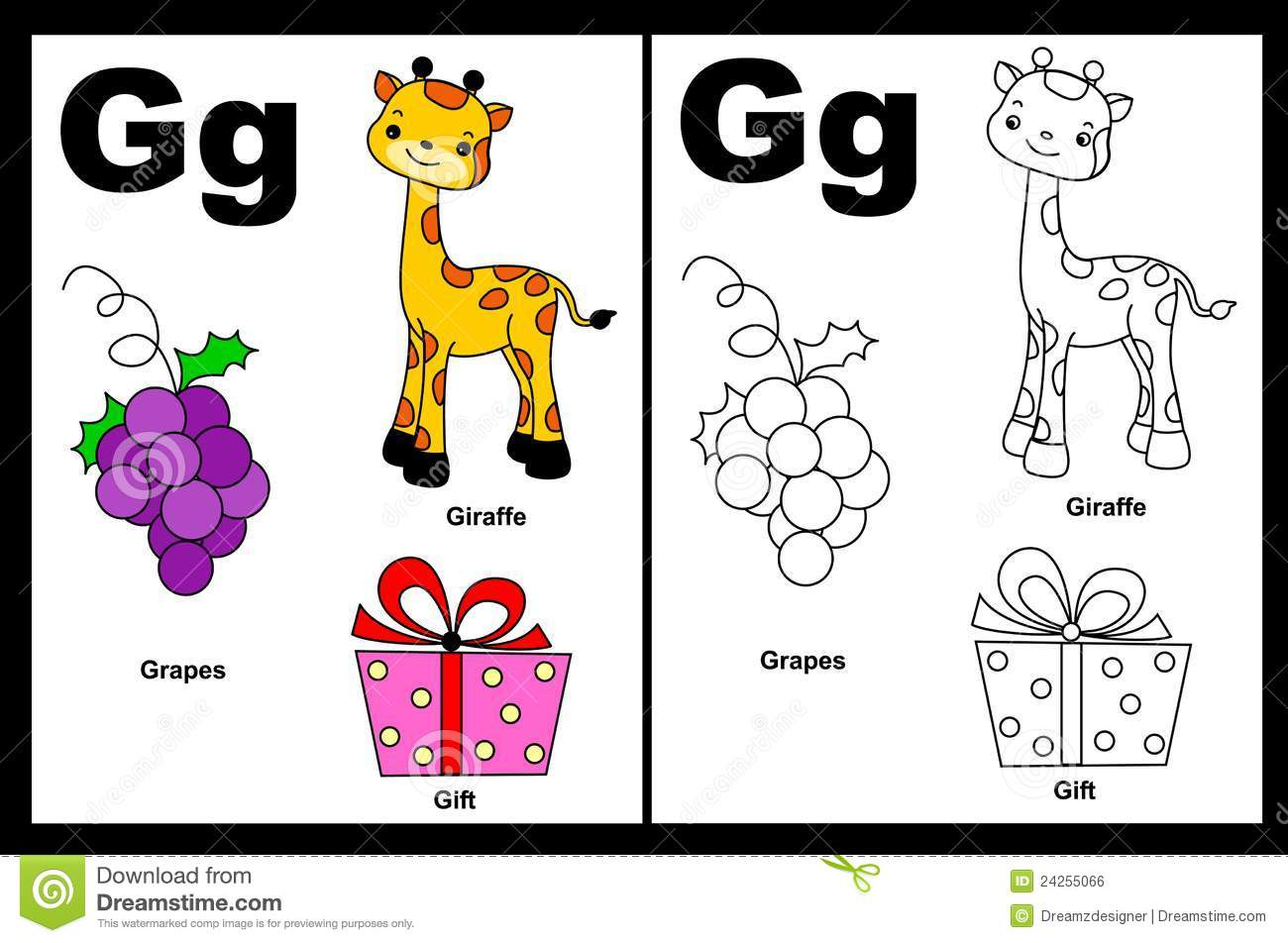 Alphabet letter G with colorful cliparts and coloring graphics ...