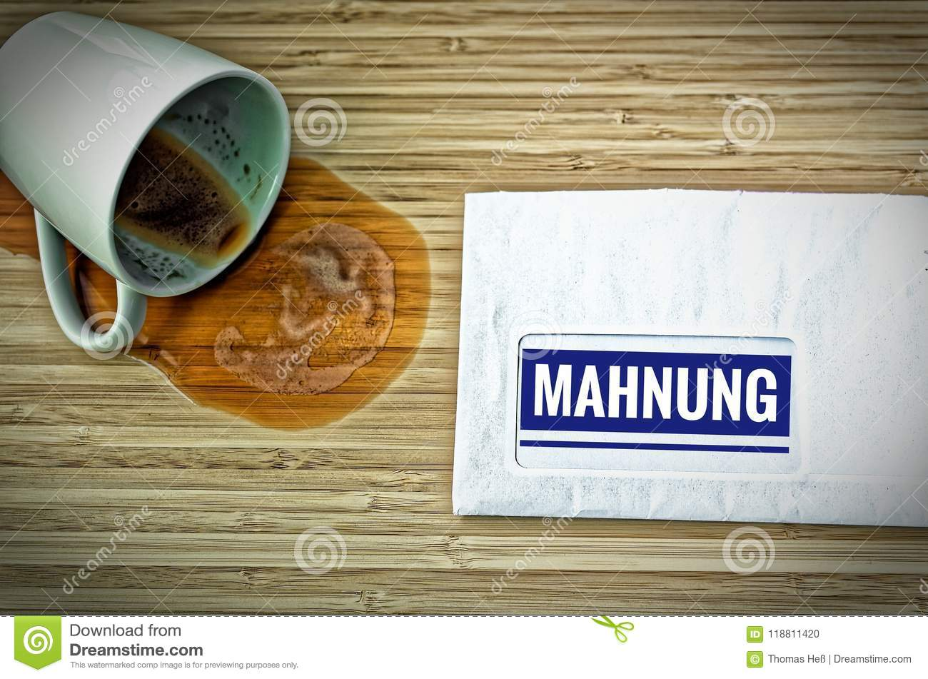 Letter With In German Rechnung In English Bill And A Dumped Coffee