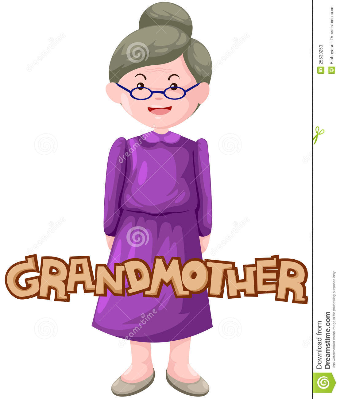 Illustration of isolated letter of grandmother on white.