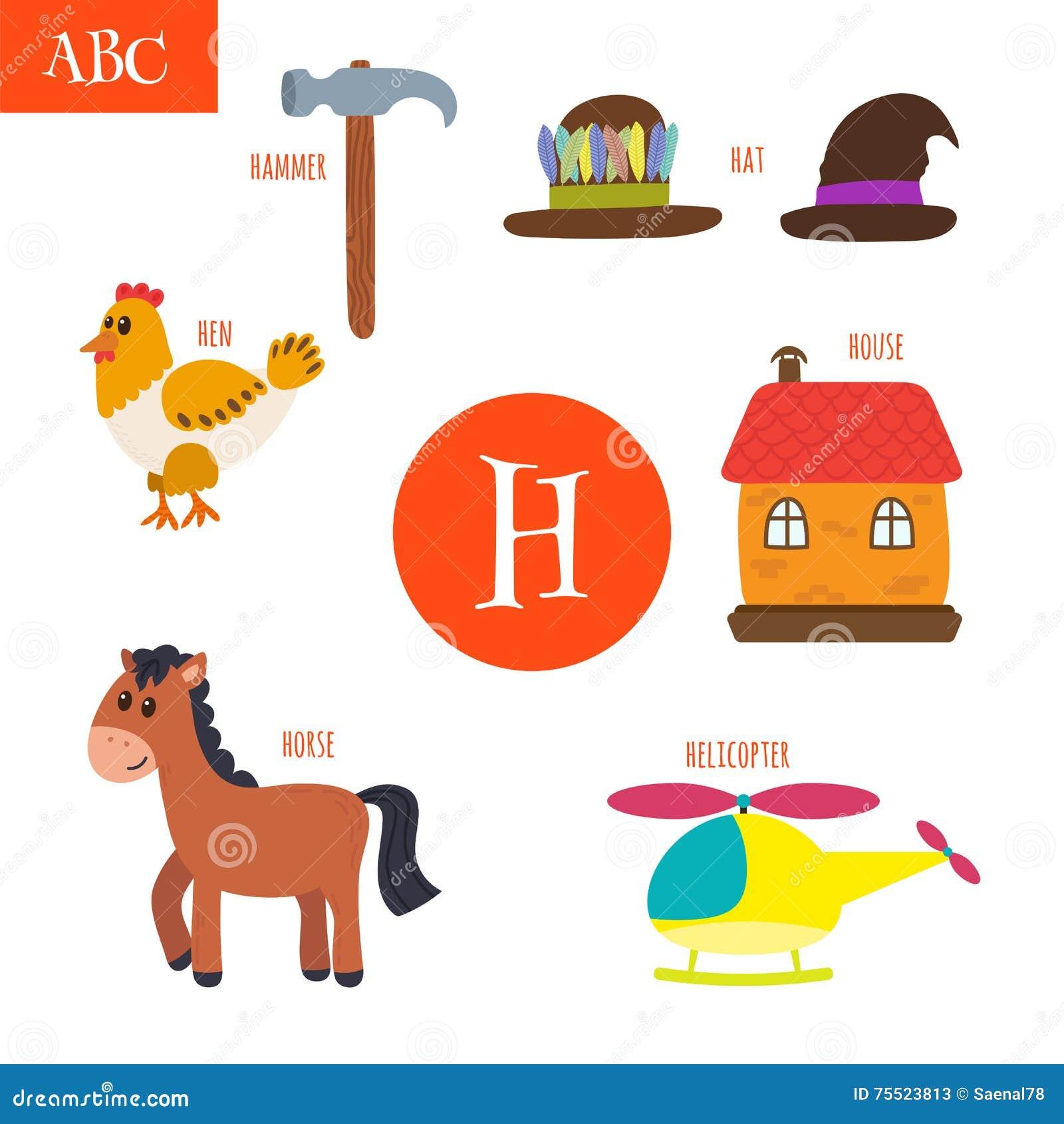 Letter h cartoon alphabet for children hen horse hat house letter h cartoon alphabet for children hen horse hat house thecheapjerseys Image collections