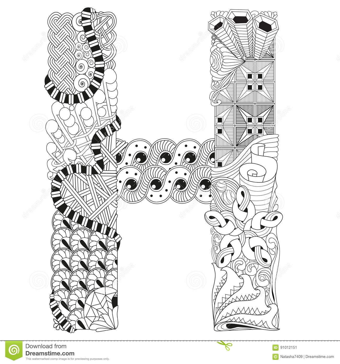 Letter H For Coloring Vector Decorative