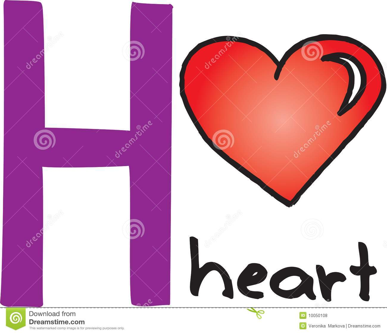 Illustration of a Letter h For Heart on a White Background Vector by Source Abuse Report Red Letter h c