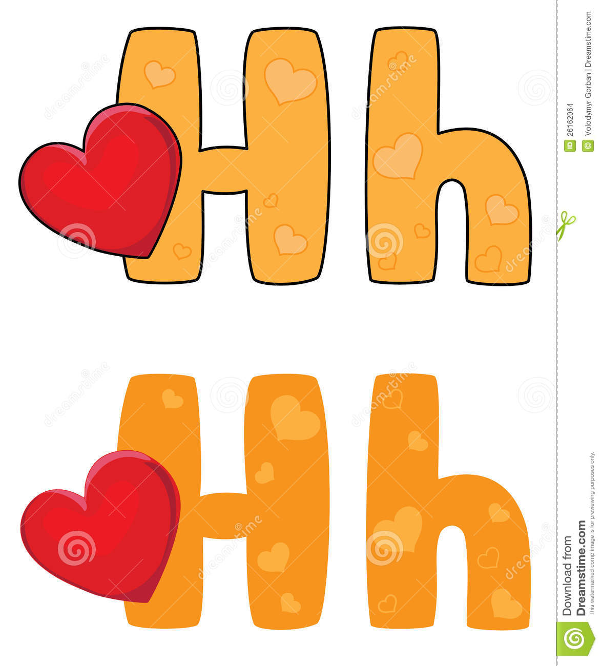 Letter H Heart Stock Images - Image: 26162064
