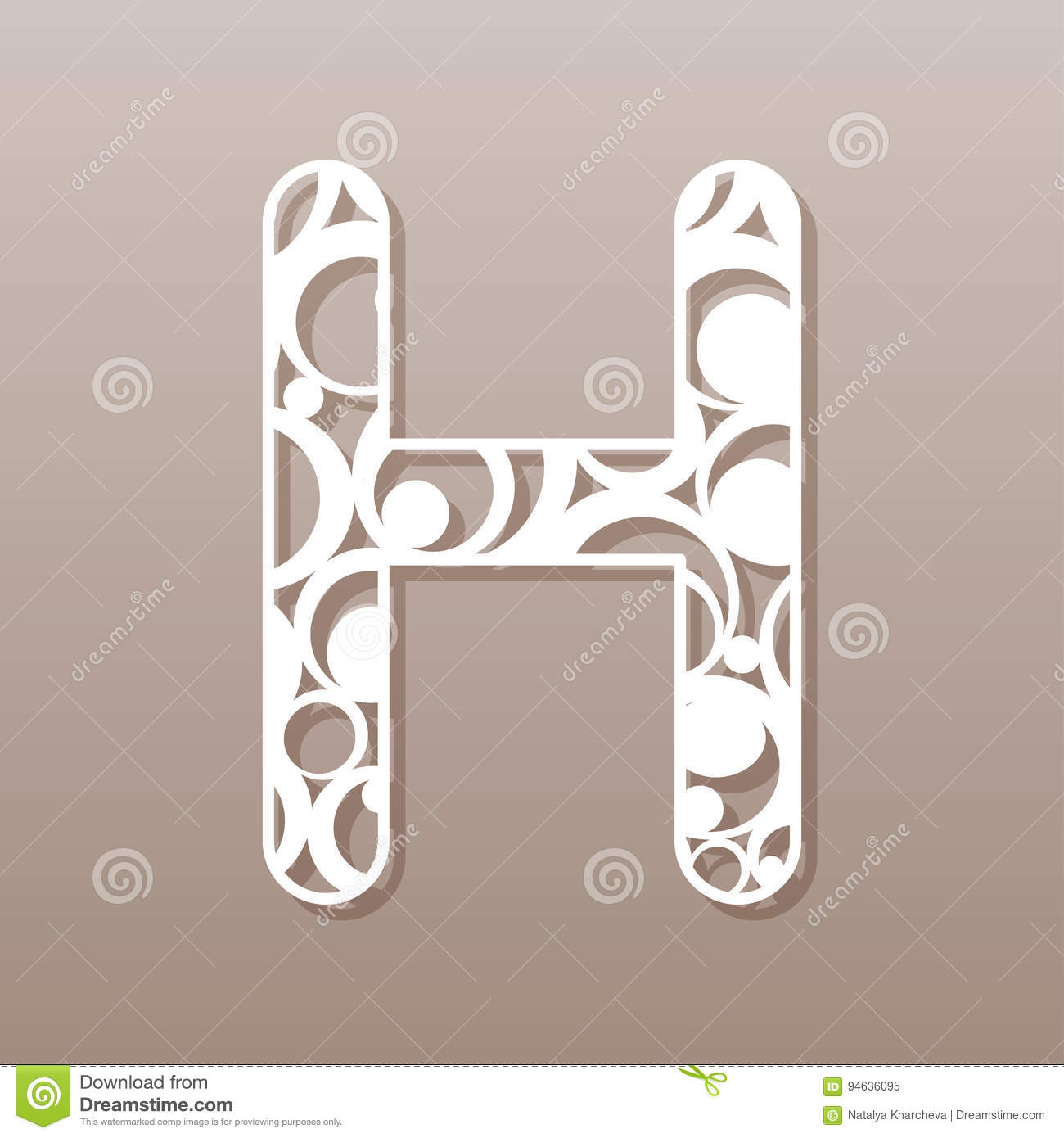 Letter H For Laser Cutting English Alphabet Stock Vector