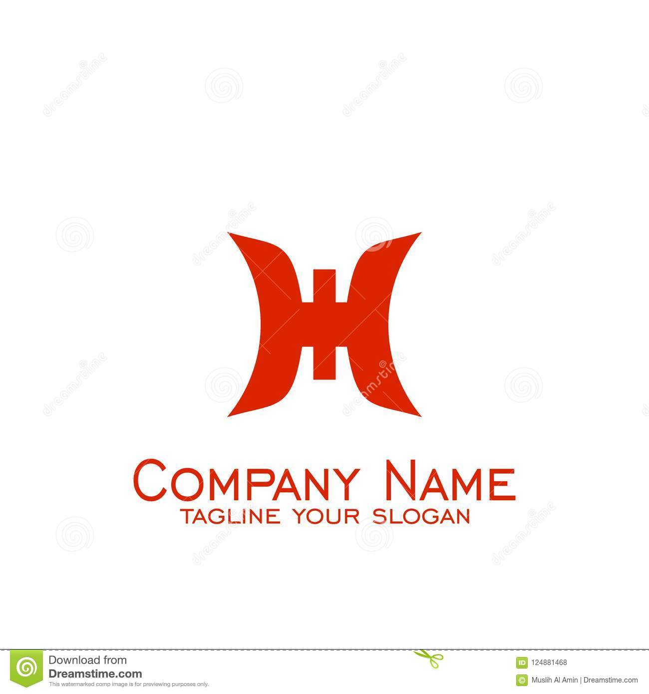 Letter H Logo Design Logo Business With Red Color Vector Icons