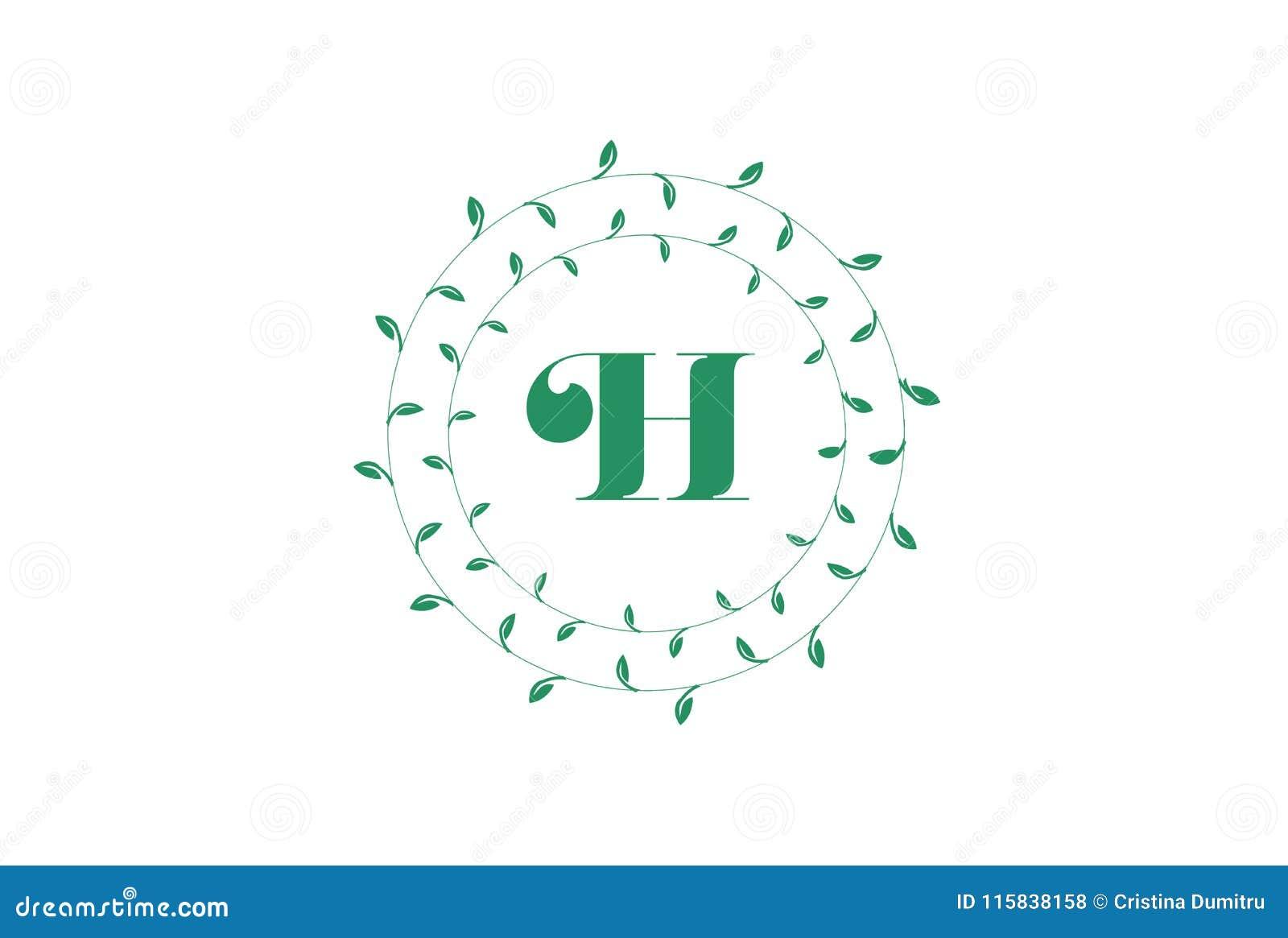 letter h logo with round green leaves elegant floral monogram