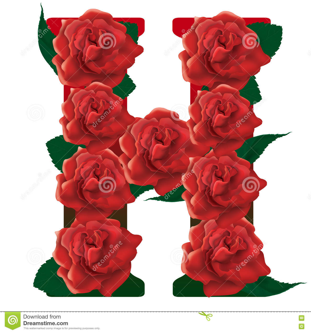 H Letter In Rose Letter H Red Roses Ill...