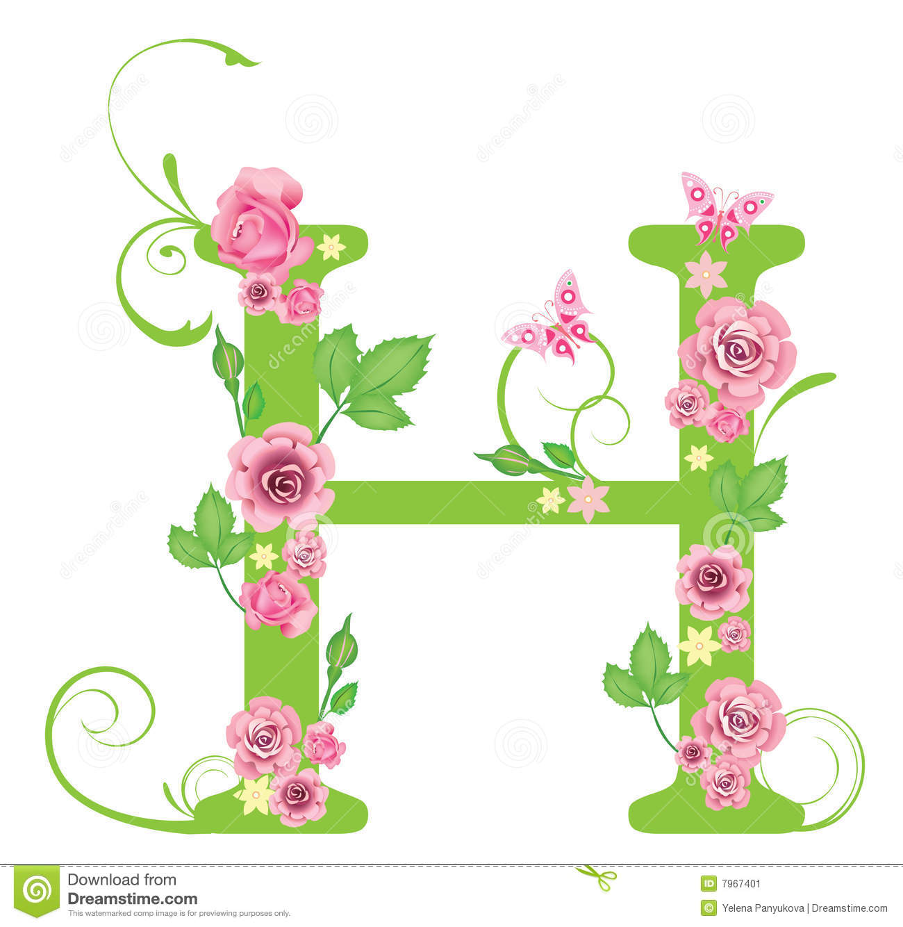 Letter h with roses stock vector illustration of typeset 7967401 letter h with roses thecheapjerseys