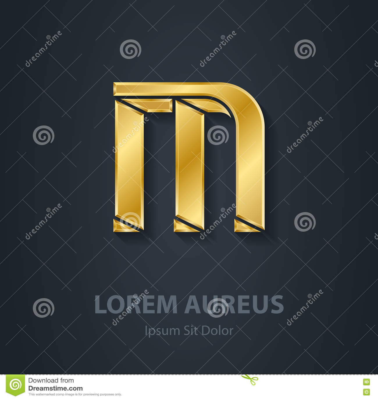 letter h vector elegant gold font template for company logo m