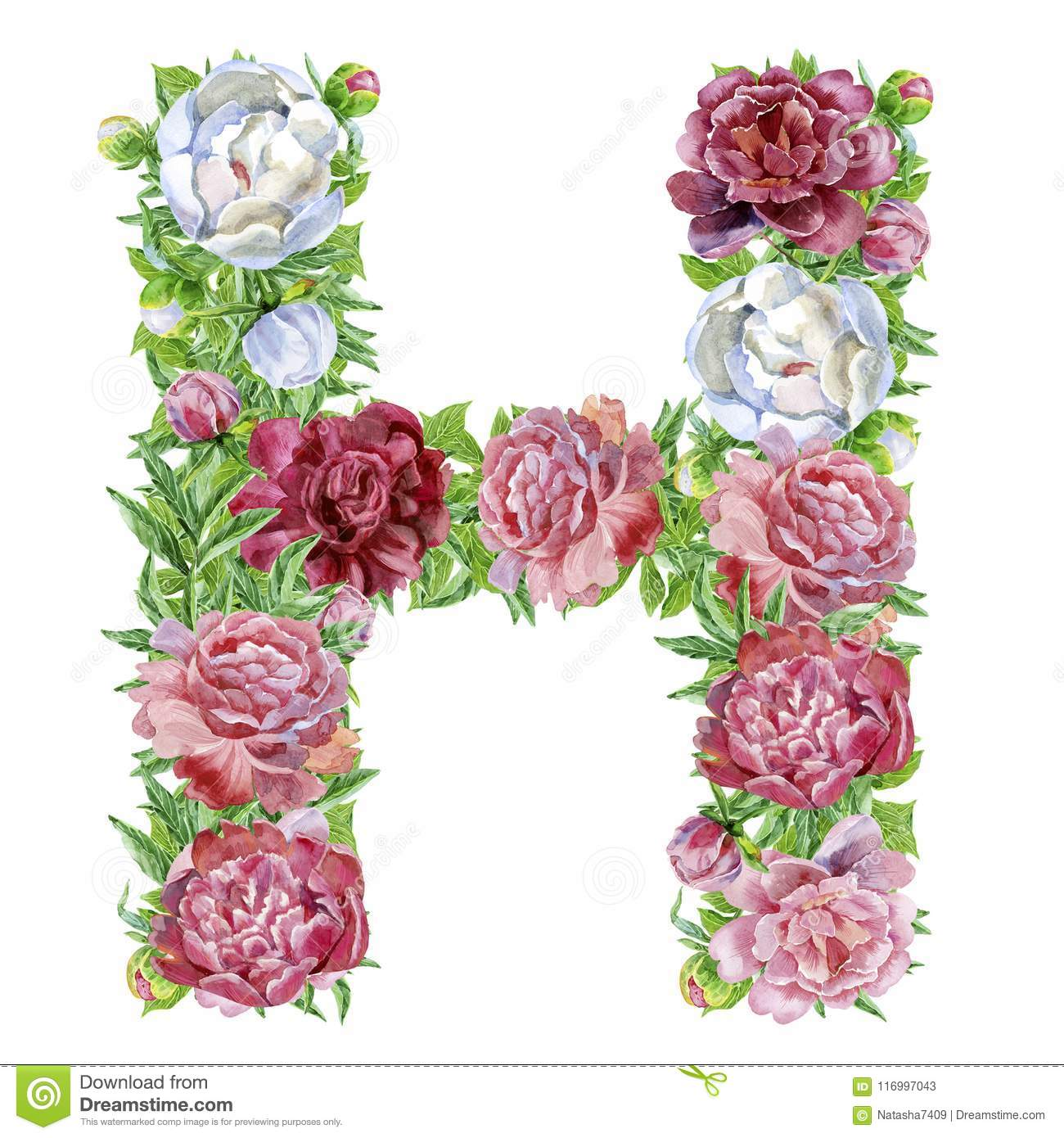 Letter H of watercolor flowers