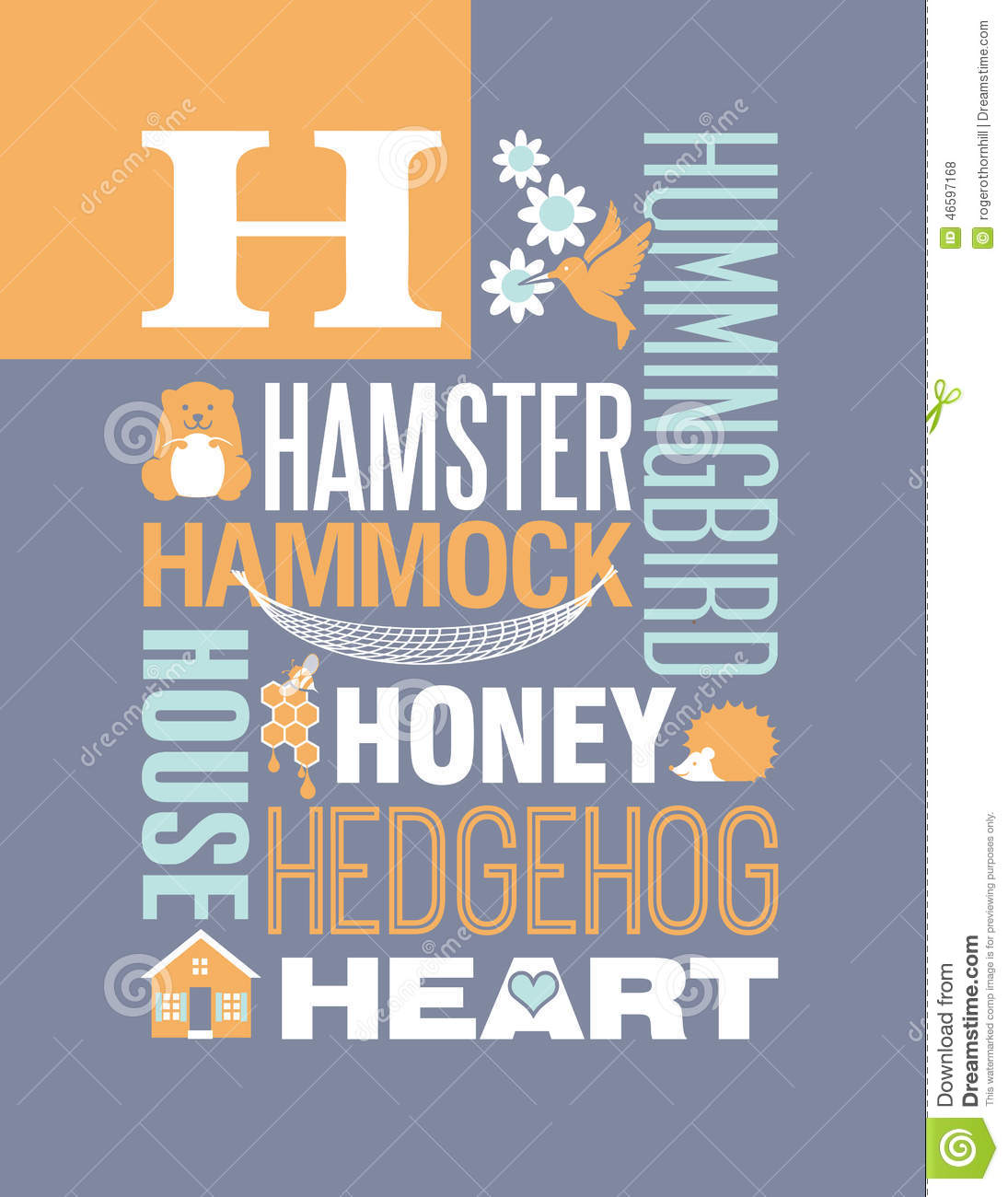 Poster design download - Letter H Words Typography Illustration Alphabet Poster Design Stock Vector Image 46597168