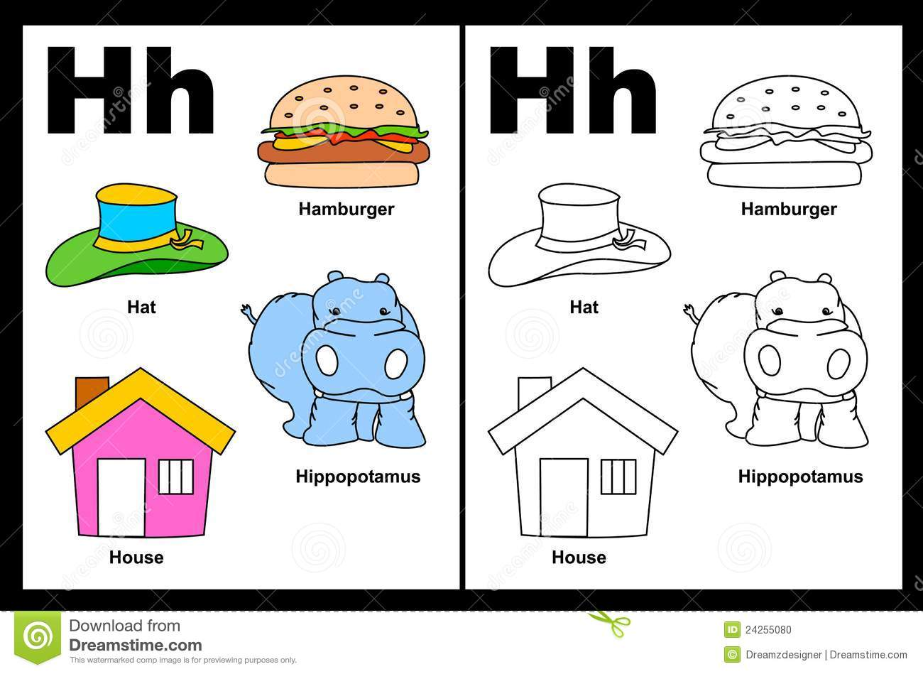 Alphabet letter H with colorful cliparts and coloring graphics ...