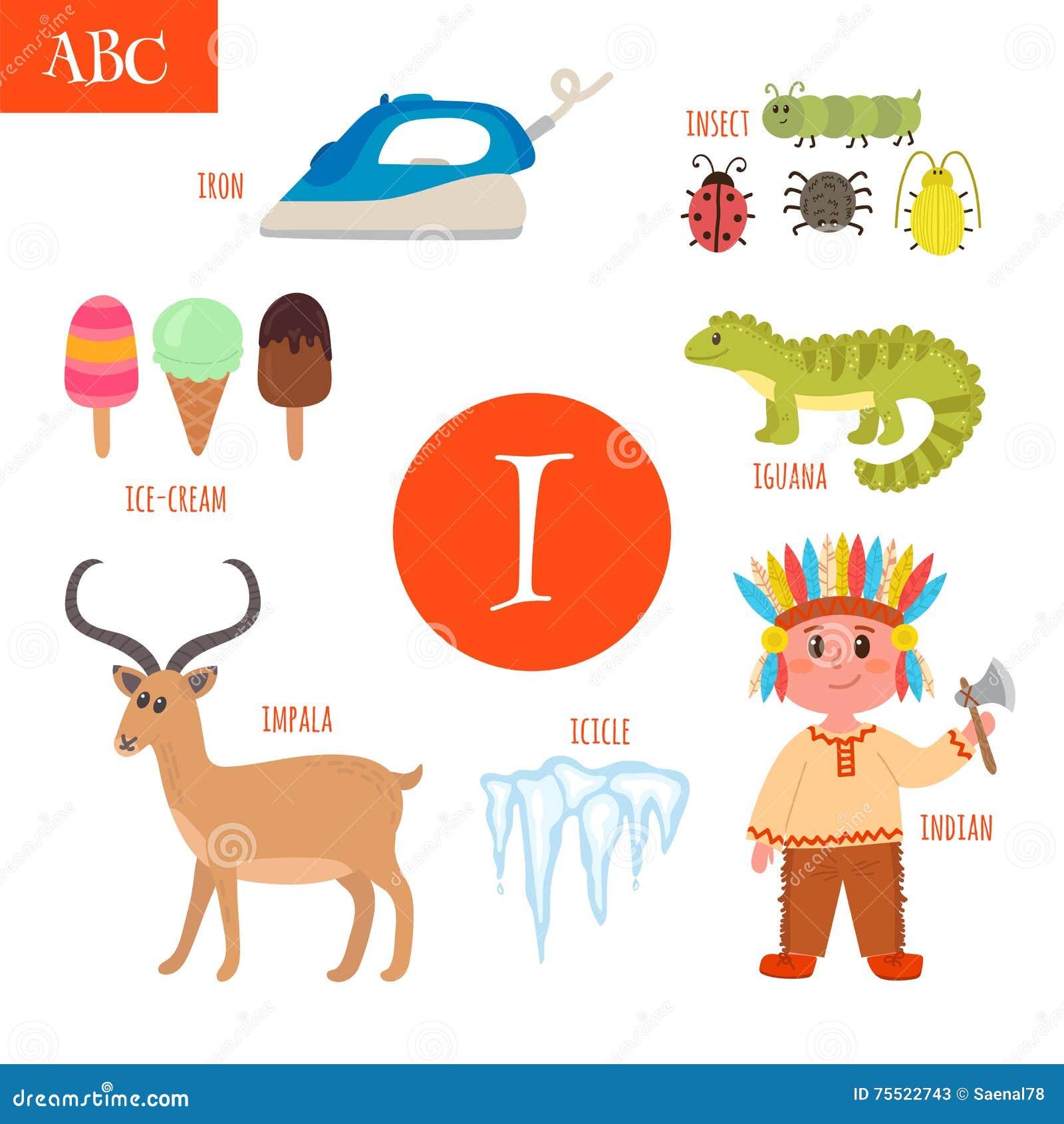I Is For Iron ~ Letter i cartoon alphabet for children iguana ice cream