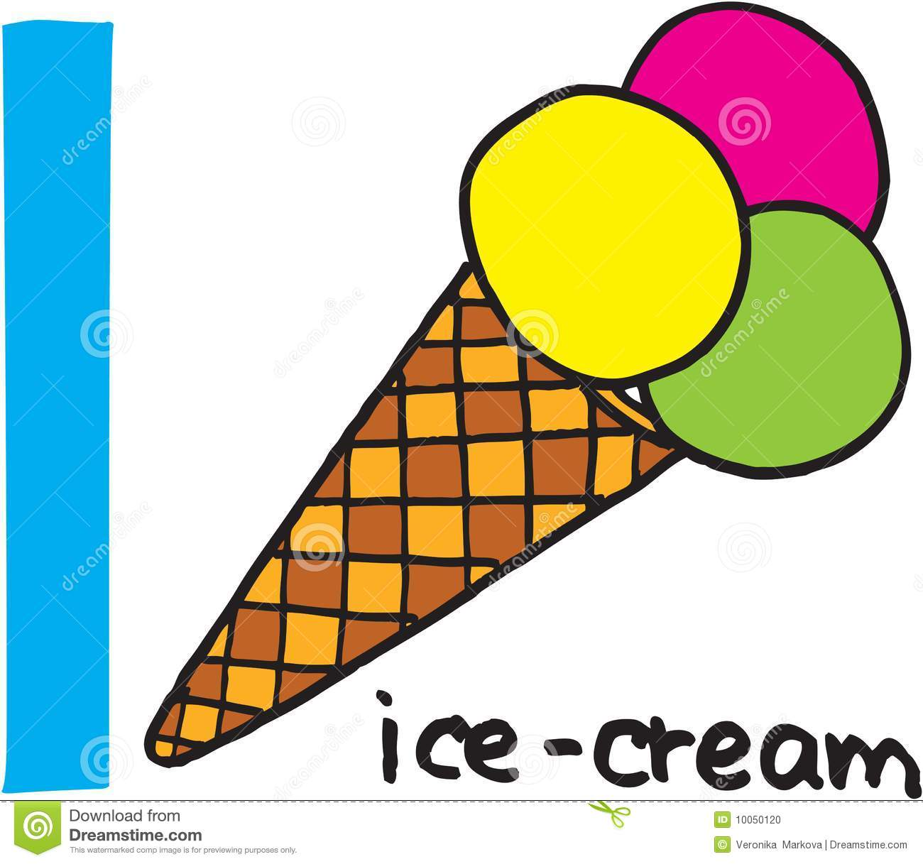 Letter I - icecream. vector image on white background.