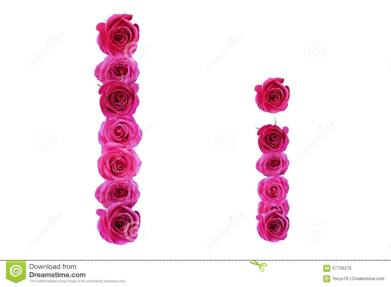 The letter i from roses stock photo. Image of letter ...
