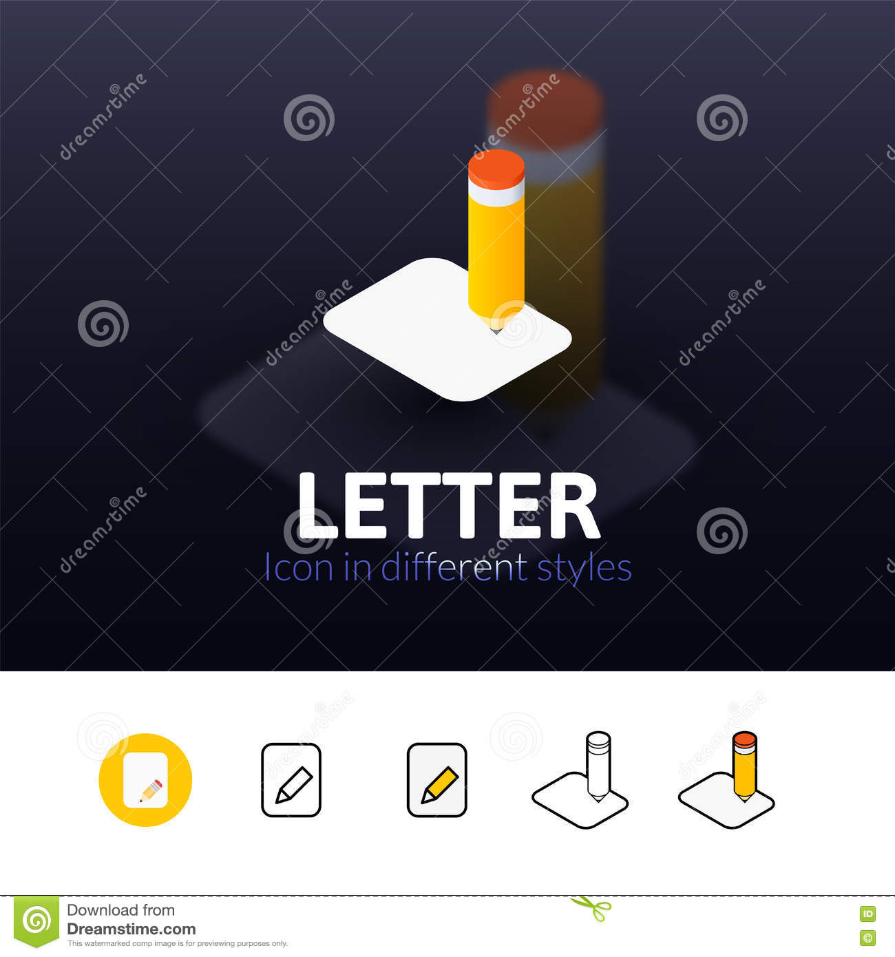 Letter Icon In Different Style Stock Vector  Illustration Of