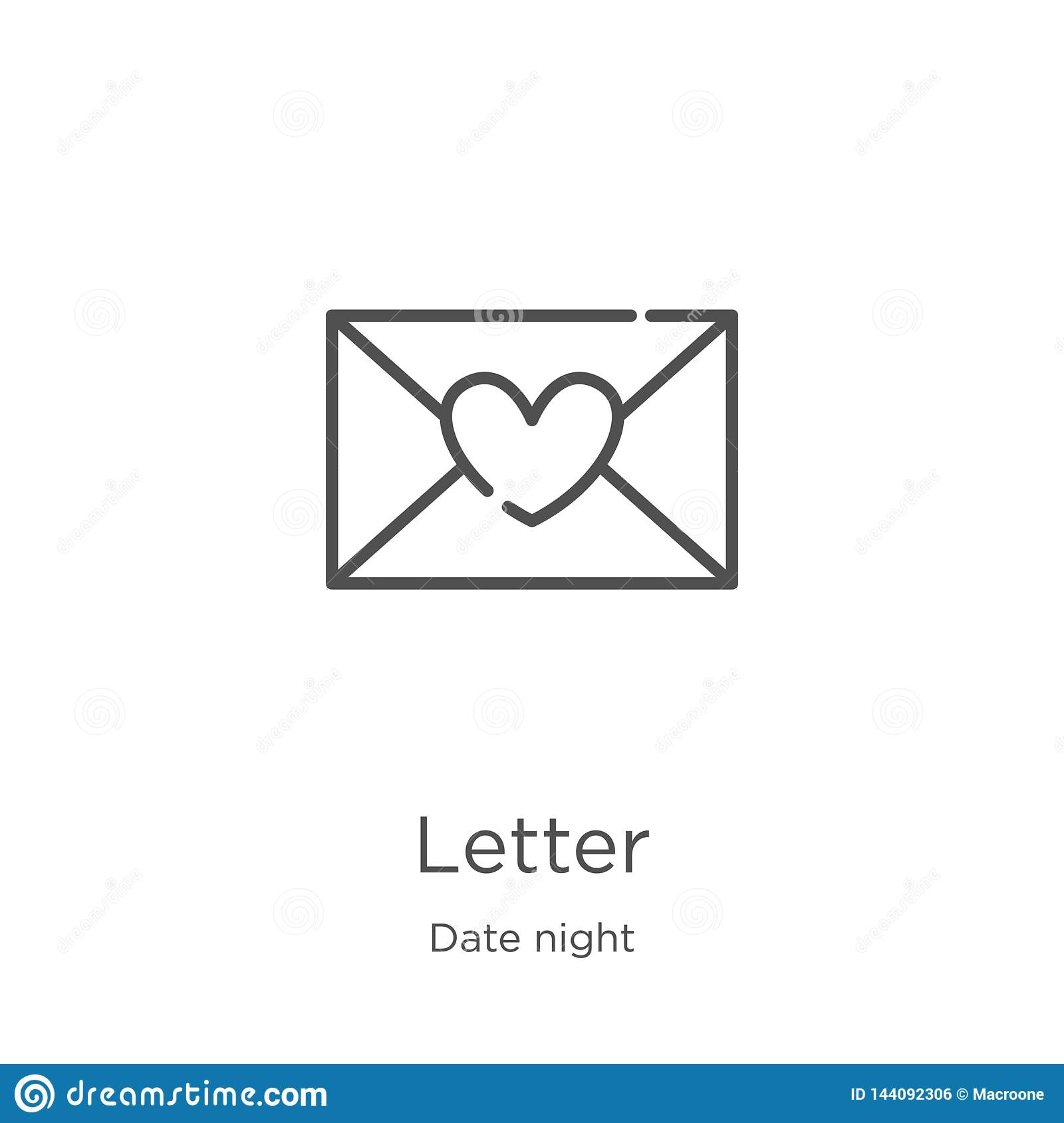 letter icon vector from date night collection. Thin line letter outline icon vector illustration. Outline, thin line letter icon