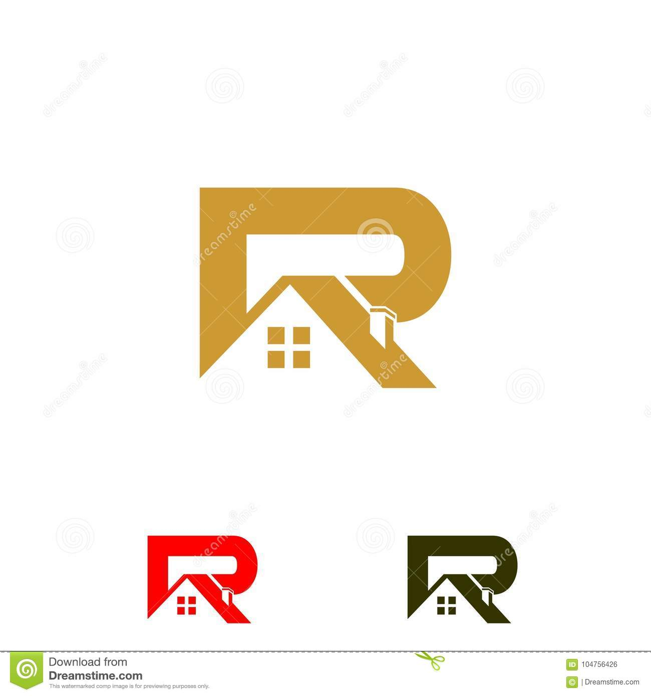 Logo Initial Letters R Roof Home Real Estate Construction