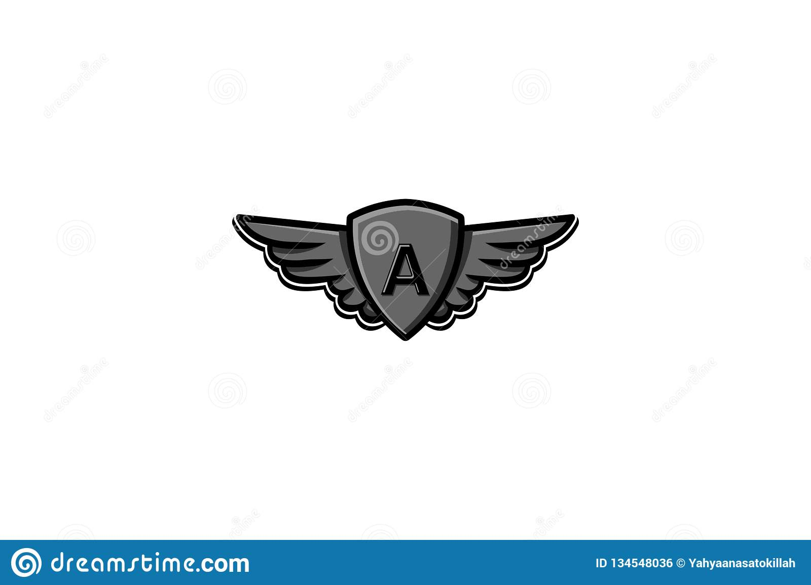 Letter A Initial Logo Wing And Badge Shield Vector Illustration