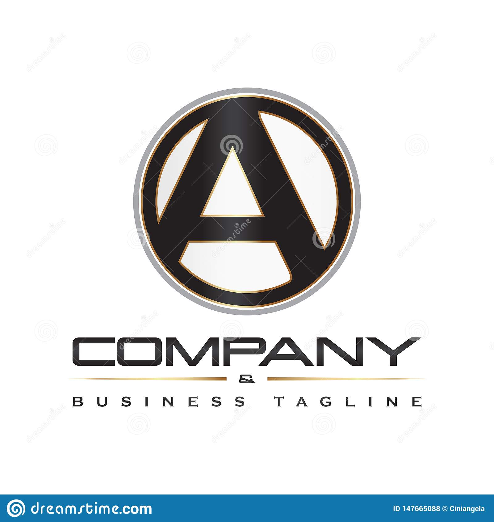 A Letter Initial Round Corporate Logo Vector