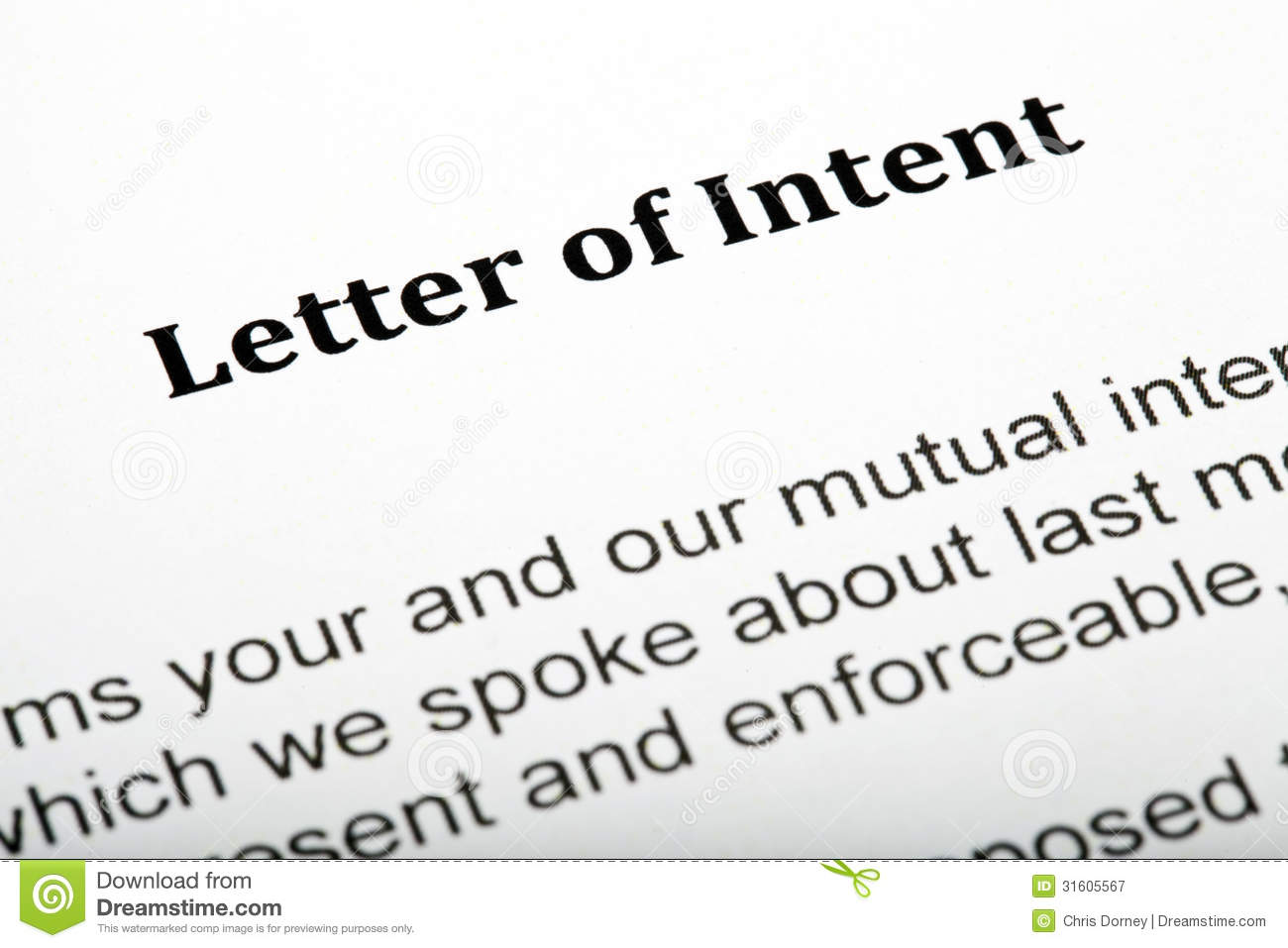 Dreamstime.com  Free Letter Of Intent