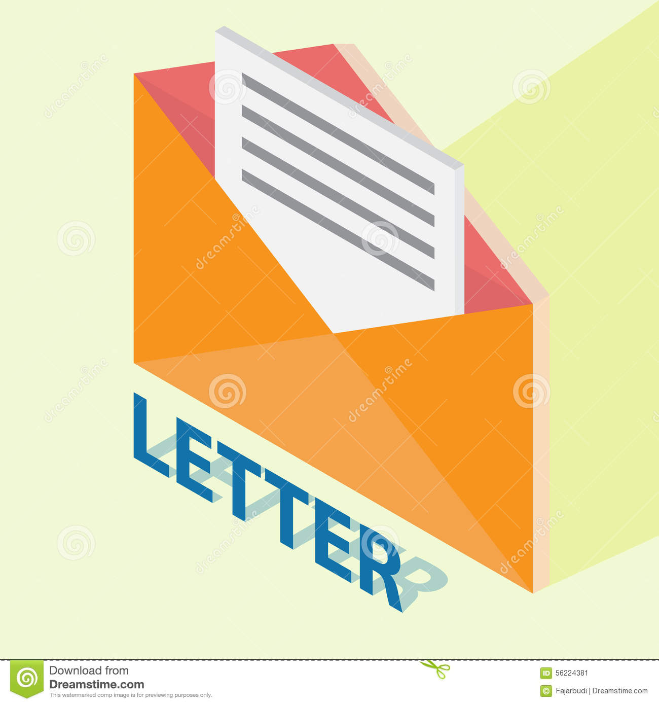 Letter With Isometric Style Stock Vector Illustration Of