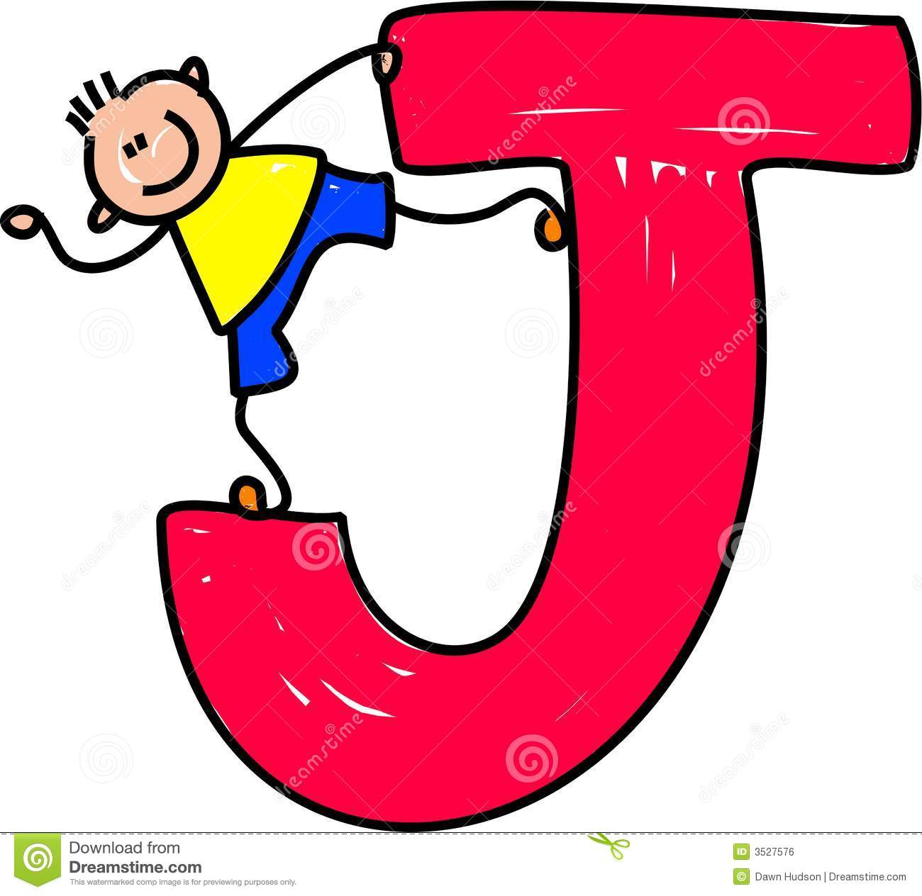 Happy little boy standing on a giant letter J isolated on white ...