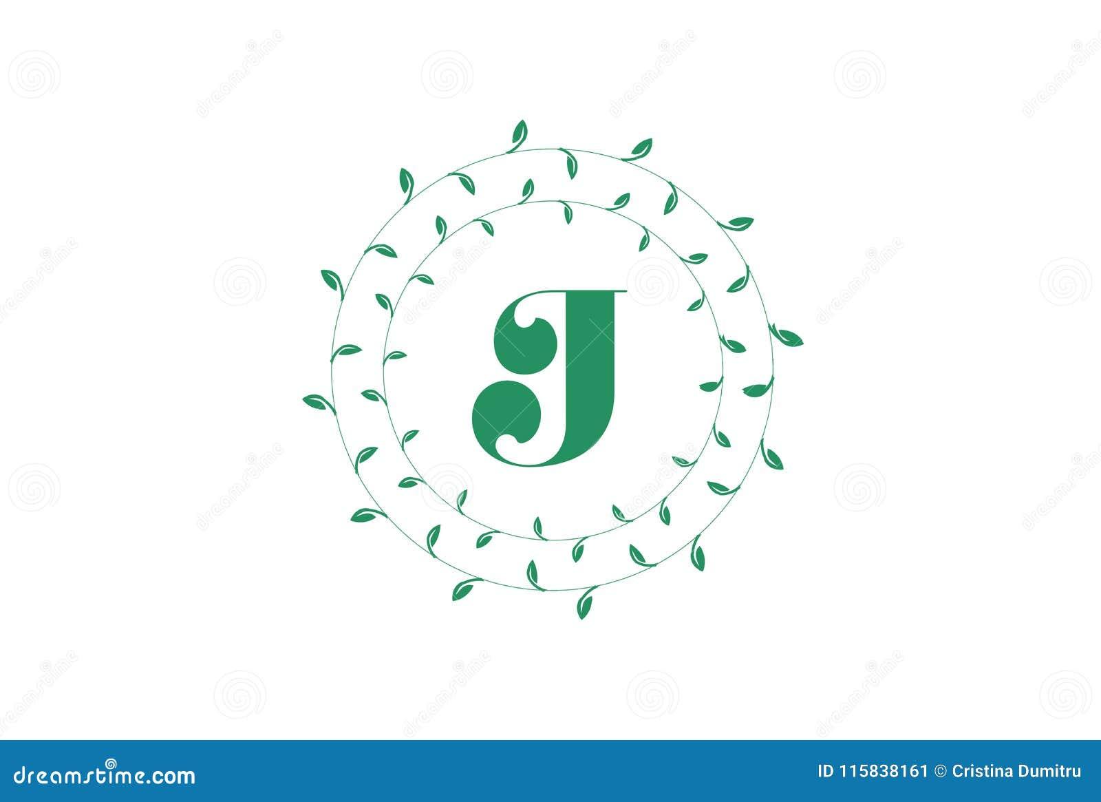 letter j logo with round green leaves elegant floral monogram