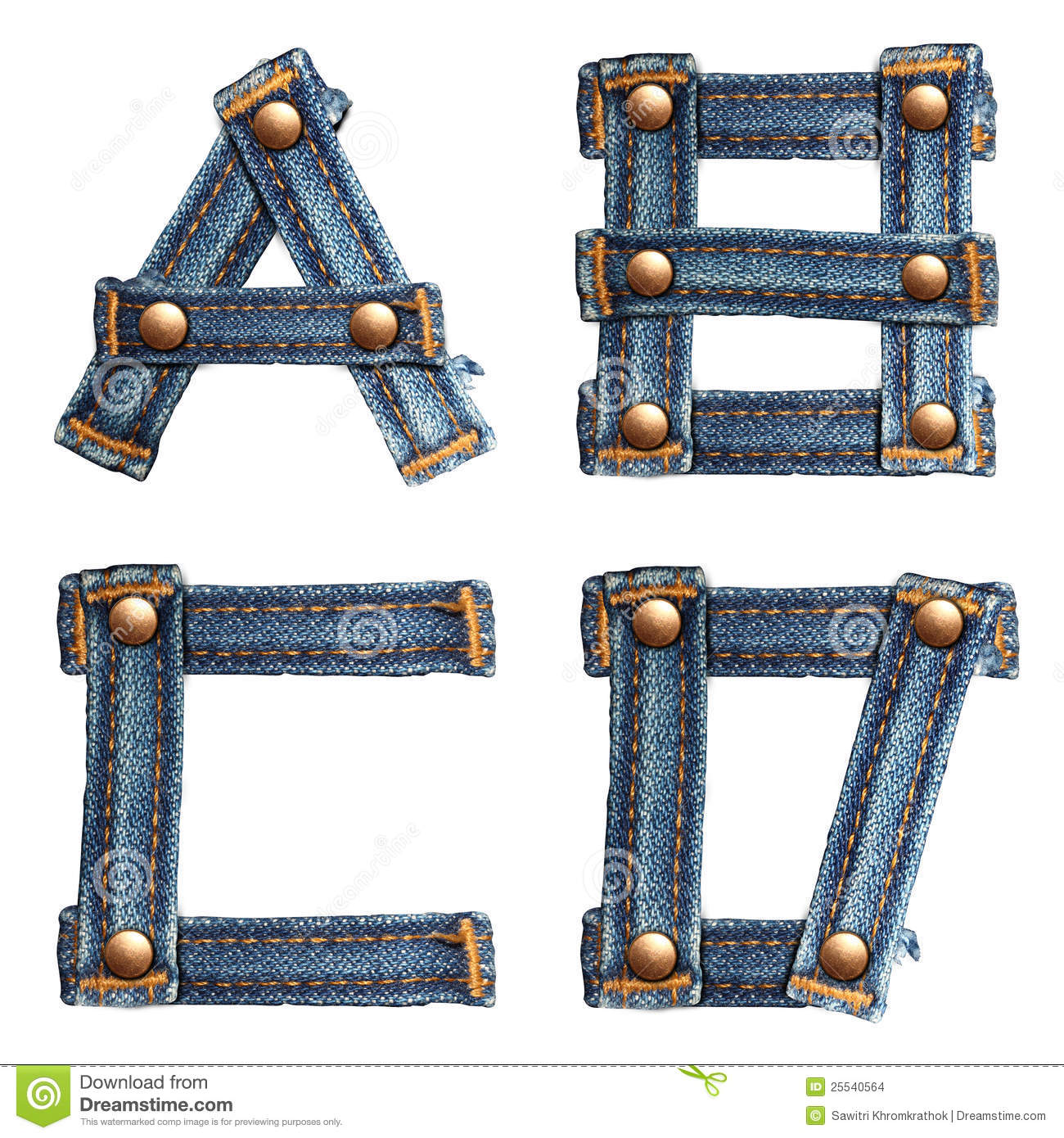 Letter Of Jeans Alphabet Number 7 Stock Images - Image: 25540564