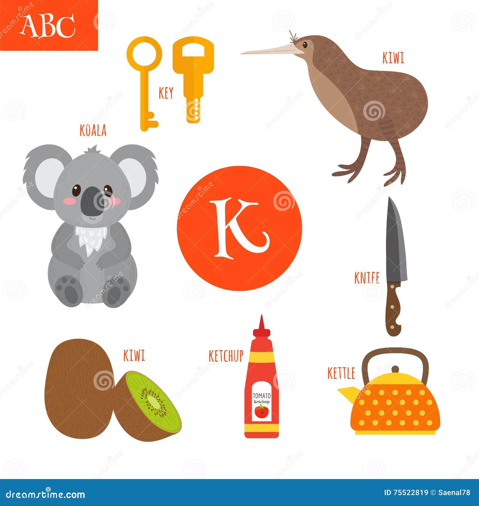 letter k cartoon alphabet for children koala key kettle ket