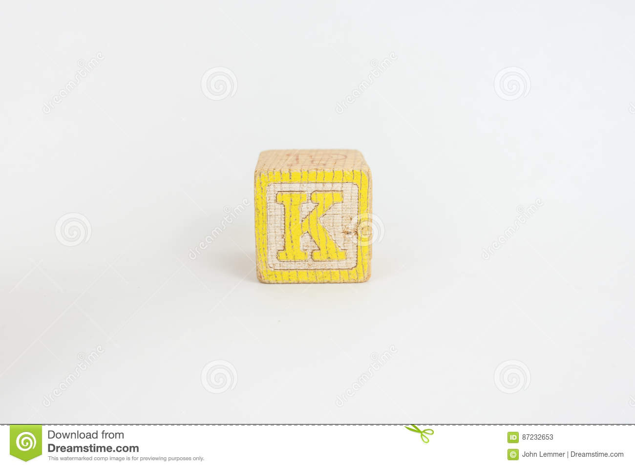 the letter k in colorful wooden childrens blocks