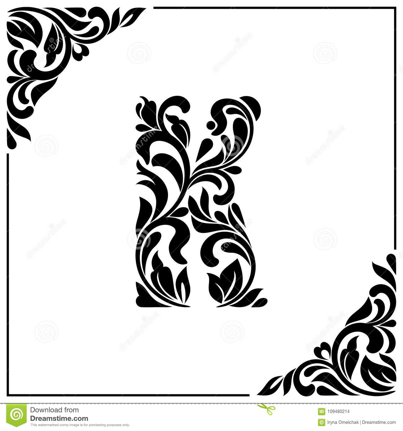 The Letter K Decorative Font With Swirls And Floral Elements