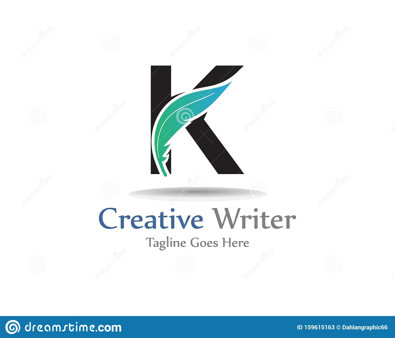 Letter K Feather Logo Template
