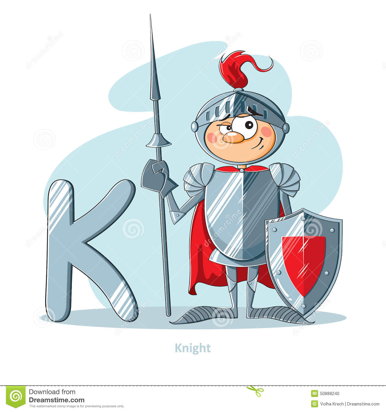 letter k with funny knight stock vector  image of knight