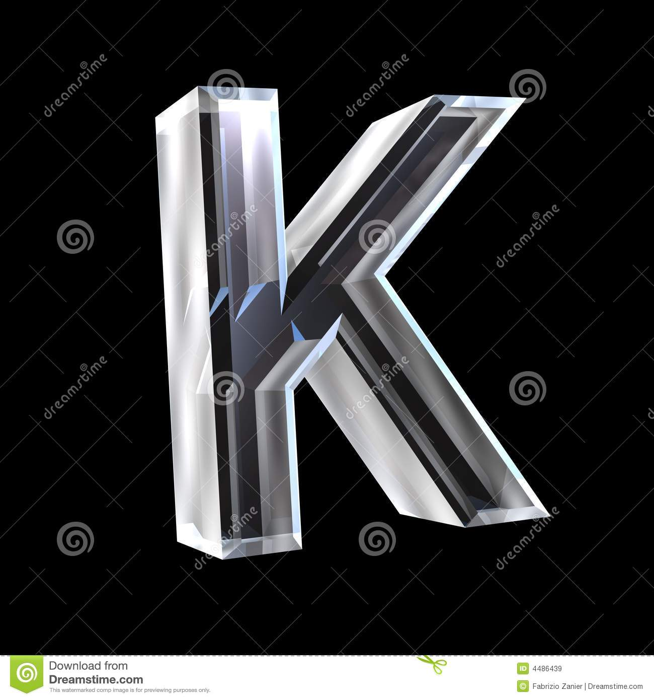 Letter K In Glass 3D Royalty Free Stock Images - Image: 4486439